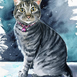 Sesame Tabby Cat Painting by Dora Hathazi Mendes