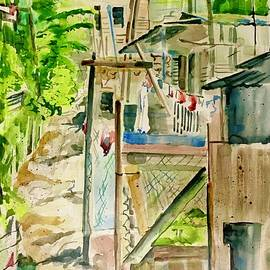 Shantytown  ascending alley in Jamaica  by Cathy Vinson