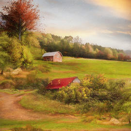 Sheep on the Farm Painting by Debra and Dave Vanderlaan