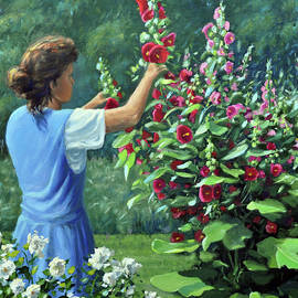 Shelly and her Hollyhocks by Rick Hansen