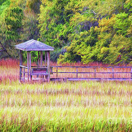 Shem Creek Marsh Dock Painterly by Sharon McConnell