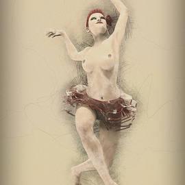 Showgirl in pencil by Joaquin Abella