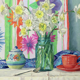 Signs of Spring - Floral Still Life with Daffodils by Bonnie Mason