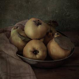 Silver bowl with fresh quinces by Jaroslaw Blaminsky