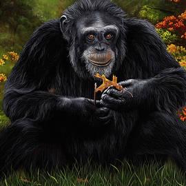 Simple Pleasures Chimpanzee Portrait by Debra Dickson