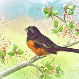 Singing Eastern Towhee by Lois Bryan