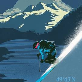 Ski Big White Retro Travel Poster by Sassan Filsoof