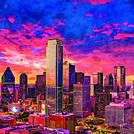 Skyline of downtown Dallas, Texas, at twilight - watercolor painting by Watch And Relax