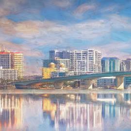 Skyline of Sarasota, Florida, Painterly by Liesl Walsh