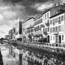 Sleepy Sunday at Naviglio Grande Milan Black and White  by Carol Japp