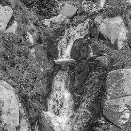 Small Waterfall on a Small Creek BW by Marv Vandehey