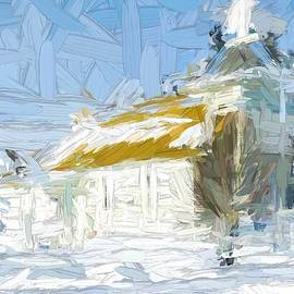 Small White Rural Church, Montana - Abstract Painting by Tatiana Travelways
