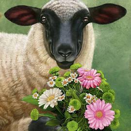 Smiling Sheep 03, Holding Flowers. by Tu Tu