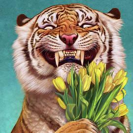 Smiling Tiger 03, Holding Tulip. by Tu Tu