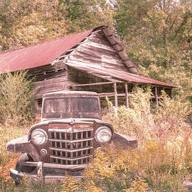 Smoky Mountain Barn  and Jeep in Farmhouse Autumn  by Debra and Dave Vanderlaan