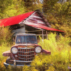 Smoky Mountain Barn  and Jeep in the Autumn  Painting by Debra and Dave Vanderlaan