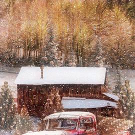 Smoky Mountain Christmas Tree Farm Painting by Debra and Dave Vanderlaan