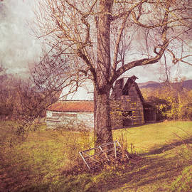 Smoky Mountain Vintage Country Barn II in Square by Debra and Dave Vanderlaan