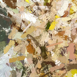 Snow covred branches in late autumn - Abstract Painting by Tatiana Travelways