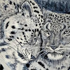 Snow Leopard Love 1 of 2 by Jenny Scholten van Aschat