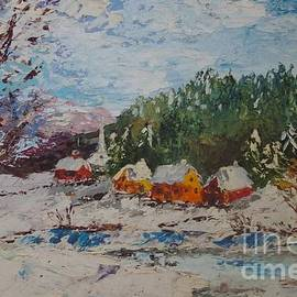 Snow Scene - Palette Knife Oil Painting by Lesley Evered