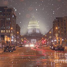 Snowfall At Nightfall by Amfmgirl Photography