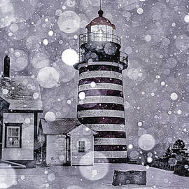 Snowfall At West Quoddy Head Lighthouse by Marty Saccone