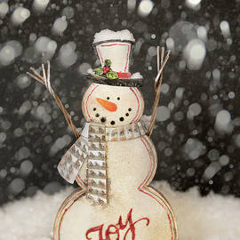Snowman Christmas Card by Linda D Lester