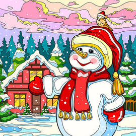 Snowman Greetings  by Kevin Napoleon