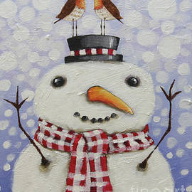 Snowman with robins by Lucia Stewart