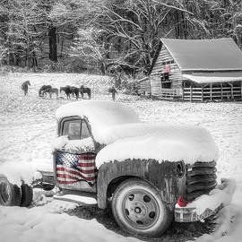 Snowy Americana Truck Black and White and Red by Debra and Dave Vanderlaan