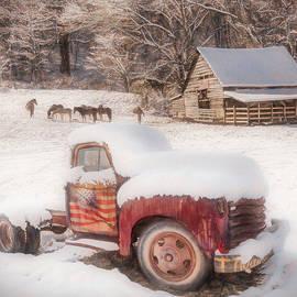 Snowy Americana Truck Painting by Debra and Dave Vanderlaan
