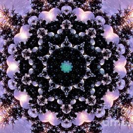 Snowy Pine Tree Abstract Mandala Kaleidoscope Starlight Glitter Effect by Rose Santuci-Sofranko