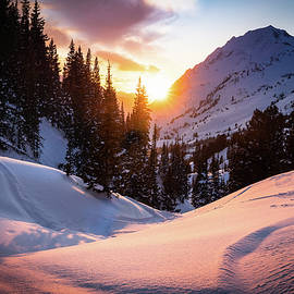 Snowy Sunset in Little Cottonwood Canyton by James Udall