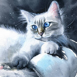 Soft Paws - White Kitten Painting by Dora Hathazi Mendes