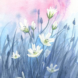 Soft White Wildflowers by Taphath Foose