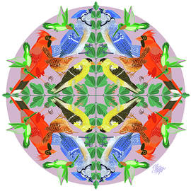 Songbird Collection #2 Nature Mandala by Tim Phelps