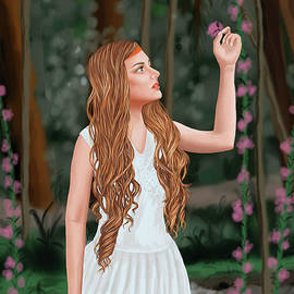 Sophia-the beautiful girl picking the flower by Akshat Goyal
