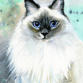 Sophie Fluffy Cat Painting by Dora Hathazi Mendes