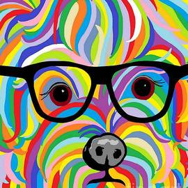 Sophisticated Yorkie with Glasses by Eloise Schneider Mote