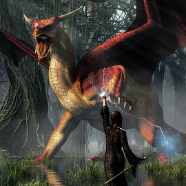 Sorceress Battling a Dragon by Daniel Eskridge