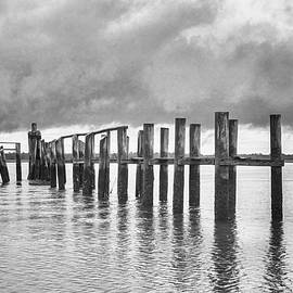South End of Topsail Beach in Black and White by Bob Decker