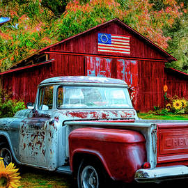 Southern Vintage in Sunflowers by Debra and Dave Vanderlaan