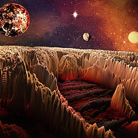 Space Adventures Fire Rock Planet by Artful Oasis