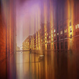 Speicherstadt Hamburg by Night Abstract Square