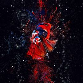 Spiderman Betta Fish Aquatic Portrait Vertical  Version  by Scott Wallace Digital Designs