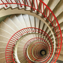 Spiral staircase in The Neboticnik, Ljubljana, Slovenia by Neale And Judith Clark