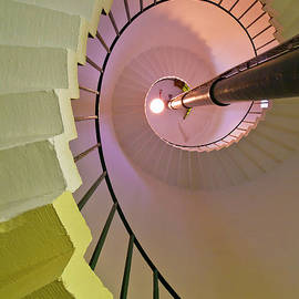 Spiral staircase inside Flamborough Lighthouse, Yorkshire, England by Neale And Judith Clark