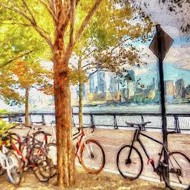 Splatter painting Manhattan skyline view from Hoboken, New Jersey by Geraldine Scull