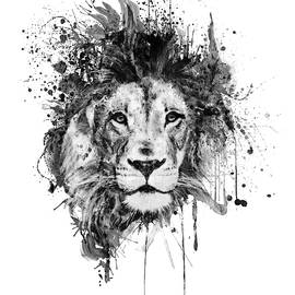 Splattered Lion Black and White by Marian Voicu